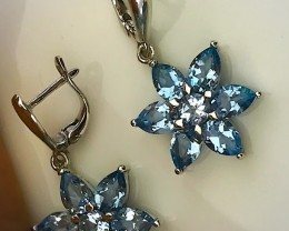 FABULOUS TOPAZ FLOWER EARRINGS - .925 STERLING WITH 14KT GOLD NO RESE