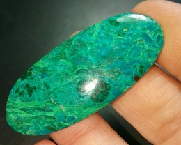 52mm chrysocolla cabochon oval 52 by 22 by 4mm 38.30ct