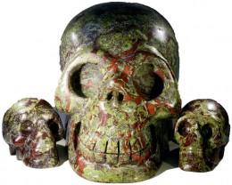 9115.00 set 3 Family  Blood Jasper skulls PPP 1112