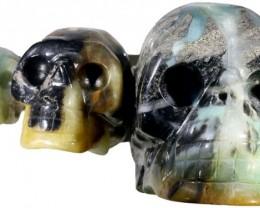 1895.00 set 3 Family  Jasper skulls PPP 1114