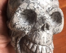 7120.00  Grey Skull- Large Jasper skulls crazy pattern PPP 1118