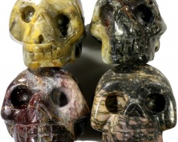 440.00 Jasper set 4 skulls PPP 1129