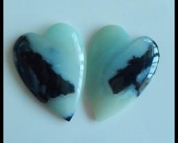 Hot Sale!Natural Amazonite Heart Cabochon Pairs,35x25x5mm,62.5ct,Charm Jewe