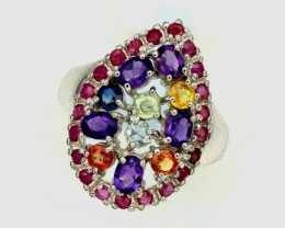 22.14ct Stamped 925 Silver Ring Sz 7.5/ Sapphire Ruby Amethyst