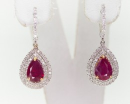 2.29tcw High End Ruby Earrings