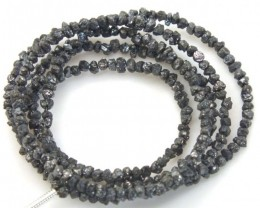 METALLIC BLACK GREY ROUGH DIAMOND STRAND   14.95CTS SD-154