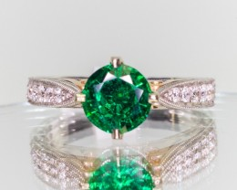 1.02ct Round Emerald Ring