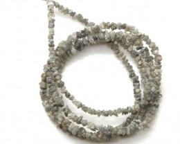 METALLIC SILVER GREY ROUGH DIAMOND STRAND   17.7CTS SD-179