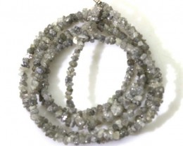 METALLIC SILVER GREY ROUGH DIAMOND STRAND   17.65CTS SD-181