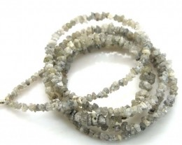 METALLIC SILVER GREY ROUGH DIAMOND STRAND  17.5 CTS SD-182