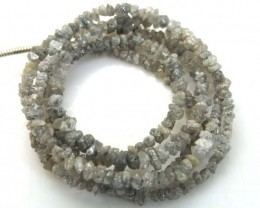 METALLIC SILVER GREY ROUGH DIAMOND STRAND  18.45 CTS SD-183