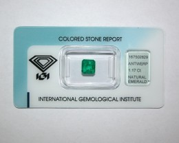 IGI Certified - 1.17Cts - Colombia - Emerald Cut