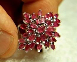 41.5 Fancy, Fun, Fiery Sterling Silver, Ruby Ring - Size 6.5