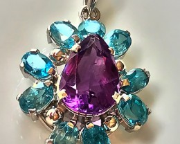 Breath-taking Amethyst Zircon Pendant Sterling Silver 14kt Gold