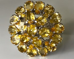 GLITTERING CITRINE  STERLING SILVER RING SIZE 8