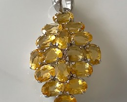 GLORIOUS CITRINE  STERLING SILVER PENDANT NO RESERVE