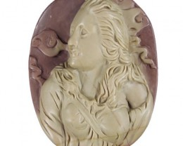A Majestic Cameo Carved Woman in Purple Picasso Jasper Gem Stone (drilled t
