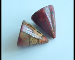 Natural Muti Color Picasso Jasper Cabochon Pair,16x14mm,30ct(17040205)