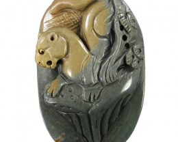 Stylized Cougar Carving - Focal Pendant worked in Jasper - drilled to becom