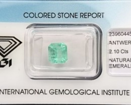Emerald - 2.10 ct - IGI certified