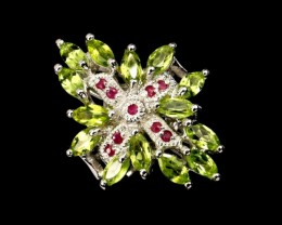 41.13ct Stamped 925 Silver Ring Sz 8/ Peridot Ruby