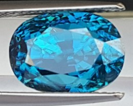 10.00cts, Certified Blue Zircon, Beyond top Color,  VVS1,