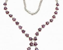 189.50Ct Stamped 925 Silver Necklace Rhodolite Garnet / Tanzanite Necklace
