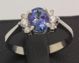 12.20ct 925 Sterling Silver Natural Tanzanite Ring size 6