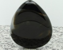 161Ct Huge Fancy Shape Black Bended Onyx Cabochon Stone