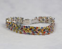 144.64ct Sterling Silver925Natural Fancy Color Sapphire Bracelet XB01
