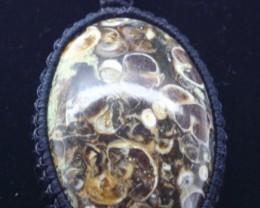 116.25ct MACRAME PENDANT Handcrafted Natural Turritella Agate Pendant