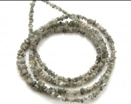 METALLIC SILVER GREY ROUGH DIAMOND STRAND  17 CTS SD-186