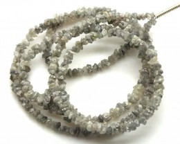 METALLIC SILVER GREY ROUGH DIAMOND STRAND  17 CTS SD-190