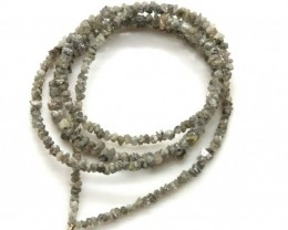 METALLIC SILVER GREY ROUGH DIAMOND STRAND  17 CTS SD-191