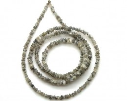 METALLIC SILVER GREY ROUGH DIAMOND STRAND 17  CTS SD-195