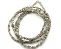METALLIC SILVER GREY ROUGH DIAMOND STRAND   17CTS SD-199
