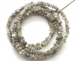 METALLIC SILVER GREY ROUGH DIAMOND STRAND  17 CTS SD-200