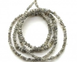 METALLIC SILVER GREY ROUGH DIAMOND STRAND  17 CTS SD-202