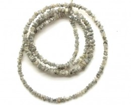 METALLIC SILVER GREY ROUGH DIAMOND STRAND   17CTS SD-204