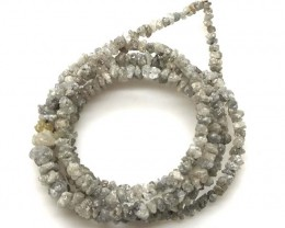 METALLIC SILVER GREY ROUGH DIAMOND STRAND  17 CTS SD-207