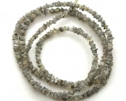 METALLIC SILVER GREY ROUGH DIAMOND STRAND   17CTS SD-208