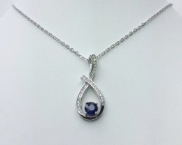 925 Sterling Silver Rhodium Plated Necklaces with 0.73 CTS Blue sapphire Pe