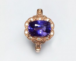 925 Sterling Silver Ring with 2.21 CTS Natural Violet sapphire