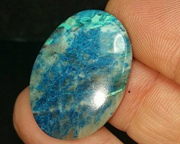 16CT 28mm oval Lightning Azurite with quartz and chrysocolla from Arizona 2