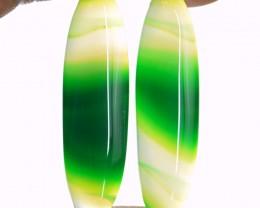 Genuine 51.50 Cts Green Onyx Cab Pair