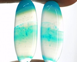 Genuine 30.00 Cts Blue Onyx Cab Pair