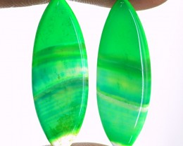 Genuine 22.00 Cts Green Banded Onyx Cab Pair