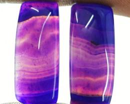 Genuine 20.50 Cts Purple Banded Onyx Cab Pair