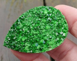47mm UVAROVITE Garnet  druzy cabochon AAA 47 by 33 by 7mm 111ct