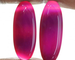 Genuine 18.50 Cts Pink Oval Shape Banded Onyx Cab Pair  17 - IO9
